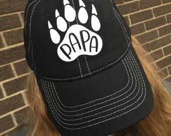 Papa Bear Custom Hat-NEW! Bear Paw Hat