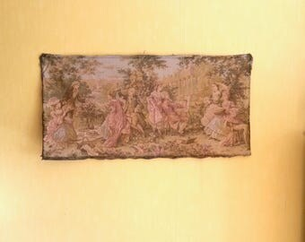 Tapestry Wall Hanging, Romantic Wall Art, Period Garden Scene, Vintage French Tapestry