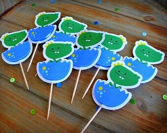 Set of Eight Baby Dragon Cupcake Toppers, Cupcake Picks, Dragon Picks
