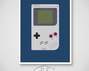 Nintendo Gameboy Video Game Poster, Minimalist Print