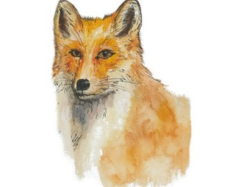 Original watercolour fox illustration - British wildlife, watercolour, nursery, UK artist DIGITAL DOWNLOAD