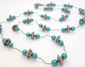 Beaded Necklace Pewter Necklace Silver Necklace Teal Necklace Blue Necklace Gunmetal Necklace Black Necklace Statement Necklace