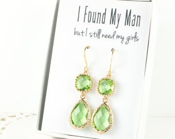Long Peridot Green Gold Earrings, Green Gold Earrings, Peridot Gold Earrings, Bridesmaid Jewelry, Green Wedding Jewelry, Bridesmaid Gift