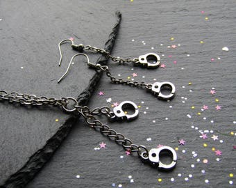 Handcuffs Necklace and Earrings, Handcuffs Necklace, Handcuffs Earrings, Quirky Valentine, Engagement Gift, Alternative Jewellery, Handcuffs