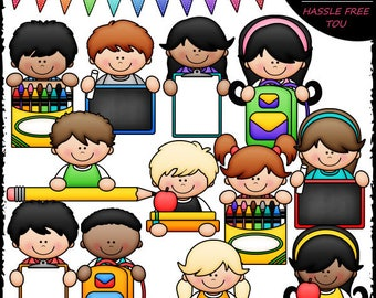 Back To School Topper Kids Clip Art and B&W Set