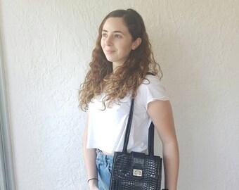 GOLDCREST BAG • Vintage 1990s bag • Black leather purse • Black vegan leather bag • 1990s crossbody bag • Crocodile shoulder bag •ladies bag