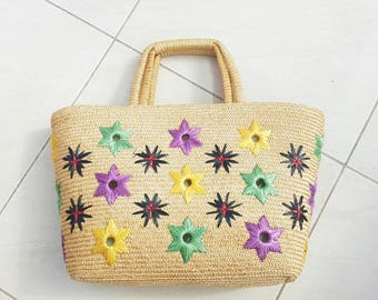 VINTAGE BASKET BAG • Straw handbag • Wicker Tote • Rattan bag • Summer bag • Shopping bag •Woven purse • Vintage bucket bag • beach bag •