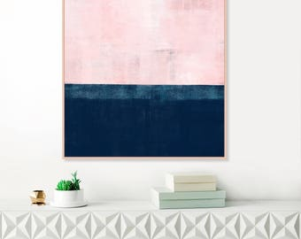 Pink and Navy Blue Abstract Art, Pink Wall Art, Pink Painting, Printable Modern Abstract Print, Extra Large Wall Art