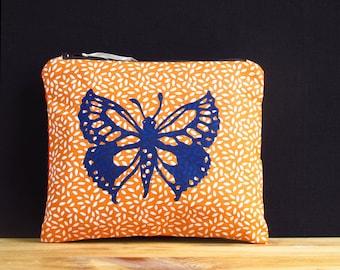 zippered bag original linocut print, makeup bag, butterfly, orange, blue