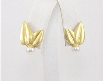 18k Gold pearl earrings  #10676