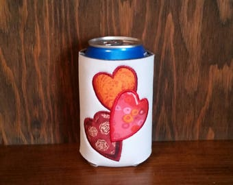 Valentines Day Can Cooler, Embroidered Can Cooler, Embroidery Can Cooler, Cozies, Holiday Cozie, Can Cooler, Holiday Can Cooler