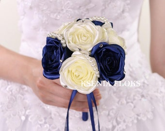 Bridesmaids Bouquet Ivory And Navy Blue Toss Fabric Roses