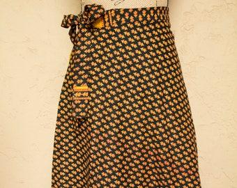 Black Block Print Wrap Skirt India Cotton Skirt Boho Skirt 70s Style Bohemian Skirt Indian Wrap Skirt Kalamkari Skirt Ethnic Hippie Skirt