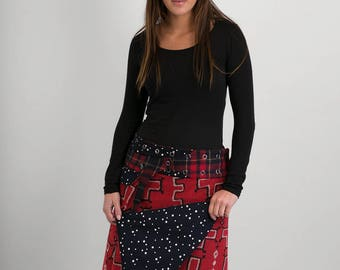 Reversible Red Black Cross Wool Black White Stars Corduroy Skirt Red Tartan Wool Belt detachable Pocket Long Length