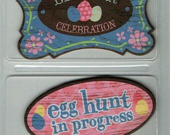 Easter Outdoor Chipboard Signs Karen Foster Scrapbook Embellishments Cardmaking Crafts Paper Piecing