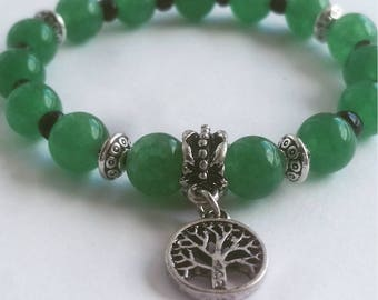 10mm Green Aventurine Beaded Bracelet with Tree of Life Charm
