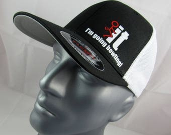 I'm going bowling fitted flex-fit trucker hat, bowling hat, bowling gift, bowler, for him, bowling cap, bowler cap