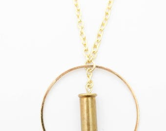 """Jade """"Ring of Fire"""" Dainty Bullet Necklace"""
