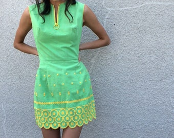 Miami Mod Dress | 1960s Vintage Mel Warshaw Miss Jane Miami Lime Green Zippered Mod Mini Dress | Size S