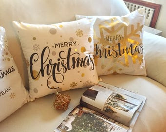 set of 4 white gold pillow cover decorative pillow throw pillow christmas