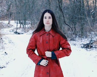 70s Red Lattice Leather Coat, Vintage Red Trench