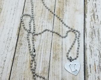 Simple Minnesota Necklace - Minnesota Love Jewelry - Minnesota Gift - Heart Necklace - Stamped Heart Jewelry - Small MN Heart Pendant