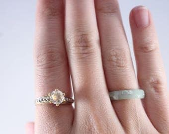 14K HGE LIND Yellow Gold White Cz Stone Solitaire Ring Size 6.75
