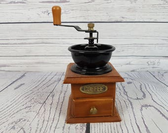 Vintage Wood Manual Coffee Grinder With Drawer Coffee Lovers Gift Hand Crank Handle Farmhouse Decor Cottage Chic Morning