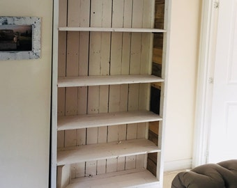 Bookcase Wood Rustic: Made in Two Tones mostly from Reclaimed Wood