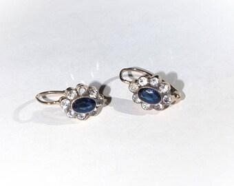 14k Yellow Gold Earrings w Blue & White Topaz Halo. Leverback. Rose-Cut---KL89