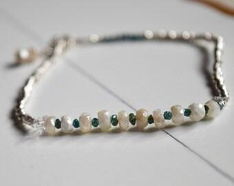 Blue Diamond Bracelet~ Dainty Stacking Bracelets~ April Birthday's Bracelet~ Gifts for Her~ Anniversary Gifts