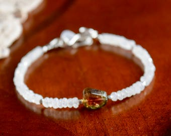 Watermelon Tourmaline, and Moonstone Bracelet~ Energy Bracelets~ Valentine's Day Gift For Her