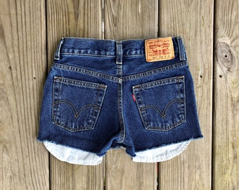 "Levi's 550 25"" Medium Wash High Waist Red Tab Vintage Cutoffs"