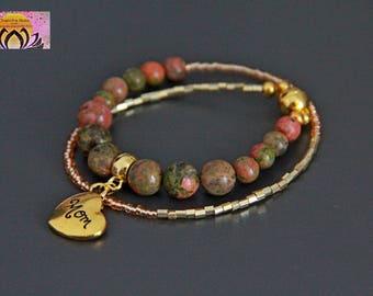 Unakite Golden Bracelet-Magnetic Clasp-Gemstone Bracelet-Maternity Pregnancy Baby Shower-Seed glass beads-Intention-Boho-Yoga-Czech Beads