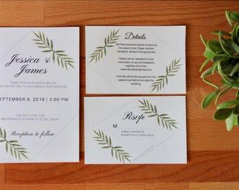 Greenery Wedding Invitation, Printable or Printed, RSVP, Detail Card, Minimal Wedding Invite