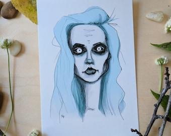 Frost Girl Inktober Print -4x6
