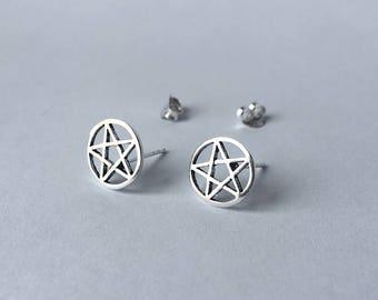 Pentagram star Stud Earrings - 925 Sterling Silver - Pentacle Stud Earrings - Wiccan Earrings - Wicca Earrings - Gothic Earrings - Witch