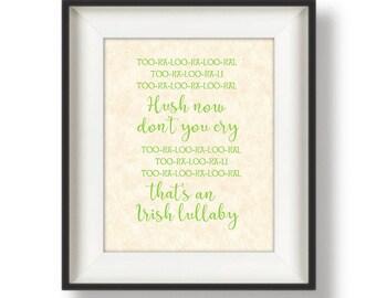 Wall Art for Nursery - Irish Baby - Nursery Wall Art Girl - Baby Nursery Art - Nursery Prints - Pink - Green - 8 x 10 - Irish Lullaby