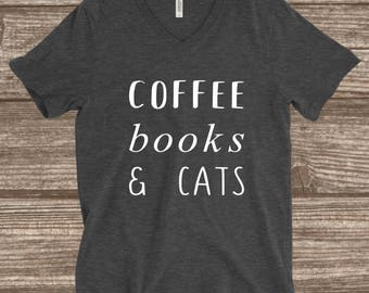 Coffee Books & Cats Unisex Adult T-Shirt - Cat Lover Gift - Book Lover Gift - Coffee Lover Gift