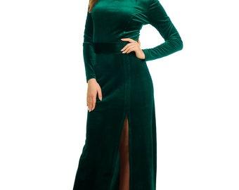 Open back dress prom dress long sleeve maxi dress green velvet woman dress wedding guest dress slit gown bridesmaids dress