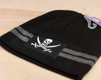 PIRATE BEANIE: Jolly Roger Caps, Skull and Crossbones, Patch, Pirate Hat, Beanies, Gift, Pirate Gift Idea, Pirate Gifts For Men