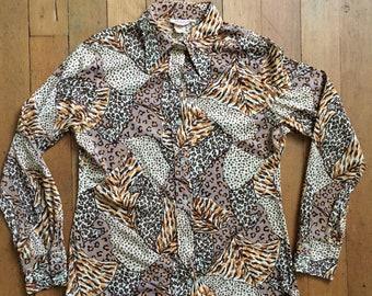 vintage 1970s leopard print blouse // 70s novelty print top