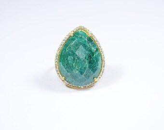 emerald ring,emerald cz ring,gold plating ring,pave ring,adjustable ring,stacking ring,green color ring,gemstone ring,natural stone ring