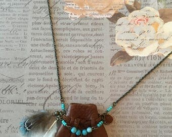 HAND-SEWN  Genuine leather medicine pouch necklace with crystal point, turquoise beads and feathers.