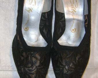 vintage SELBY 1950s Black Embroidered Ferns High Heel Shoes / Pumps - size 7 1/2 C