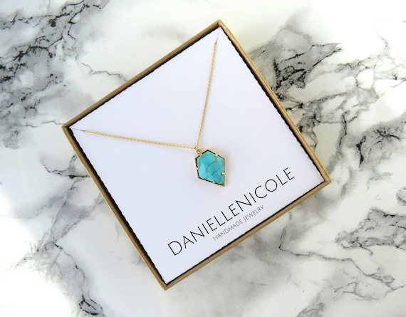 Turquoise Pentagon Necklace, Turquoise Pendant Necklace, Pendant Necklace, Everyday Jewelry, Dainty Jewelry, Dainty Necklace, Gifts for Her