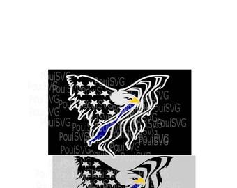 American Eagle Flag svg,Police svg,T-shirt design, Back the blue,Memorial Day,silhouette cut file,  Svg cut file,Cricut,Layered file