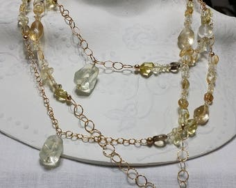 Gold Citrine Chain Necklace