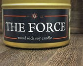 THE FORCE Candle | Wood Wick, Soy | Gold Tin | Book-Fantasy-RPG-Geek Gift | Star Wars Candle | Star Wars Gift | Sci-Fi Decor