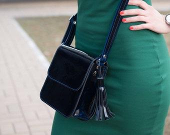 Patent leather crossbody bag, Sling bag women, shoulder bag, black little bag, classic bag